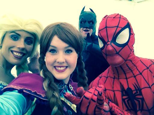 Batman, Elsa, Anna and Spider Man at Rainbows Hospice