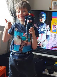 Online party with Captain America